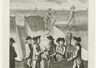 Schultsz, Johan Christoffel - Kolfspel als allegorie op de Nederlandse en Franse hulp aan Amerika tegen Engeland, 1782, Rijksmuseum Amsterdam RP-P-OB-76.763